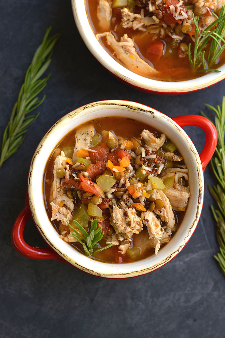 A wholesome comforting \u0026 nutritious bowl of vegetables rice \u0026 lentils this Chicken Lentil & Chicken Lentil Soup GF Low Cal - Skinny Fitalicious