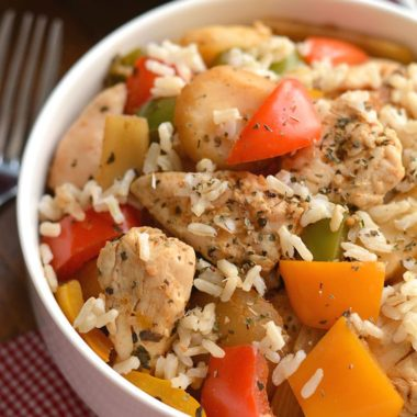 15 Minute Chicken Stir-Fry loaded with veggies & flavor! A lighter, better for you version of takeout that's easy to make & tastes great. Gluten Free + Low Calorie