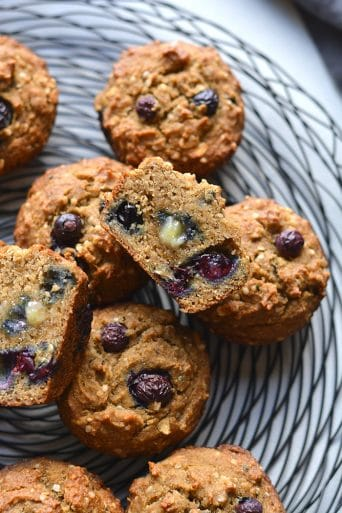 These Blueberry Hemp Flaxseed Muffins make a delicious low sugar, gluten free and low calorie treat! A lighter muffin made with whole grains, flax, hemp hearts with fresh blueberries. Start your day with this muffin recipe or take them with you for a sweet treat on the go.Gluten Free + Low Calorie