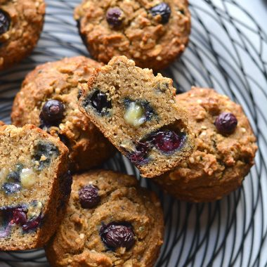 These Blueberry Hemp Flaxseed Muffins make a delicious low sugar, gluten free and low calorie treat! A lighter muffin made with whole grains, flax, hemp hearts with fresh blueberries. Start your day with this muffin recipe or take them with you for a sweet treat on the go. Gluten Free + Low Calorie