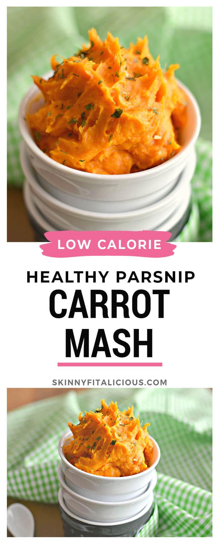 This Parsnip Carrot Mash is a healthy low calorie twist on traditional mashed potatoes. Adelicious and easy to make side perfect to pair with any protein! Paleo + Vegan + Gluten Free + Low Calorie