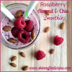 Raspberry Almond Chia Smoothie {GF, Low Cal}