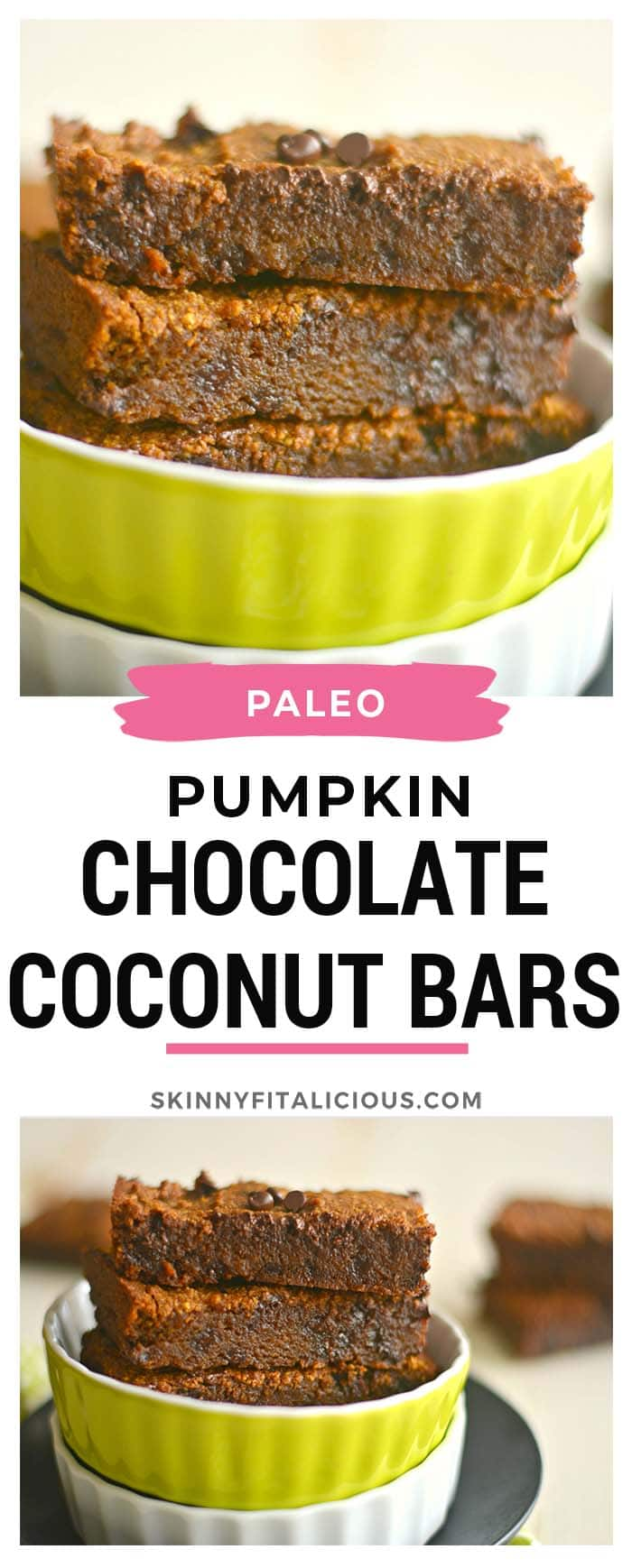 Paleo Pumpkin Chocolate Coconut Oil Bars! These gooey brownies melt in your mouth with every bite. Easy to make and absolutely delicious. Gluten Free + Paleo
