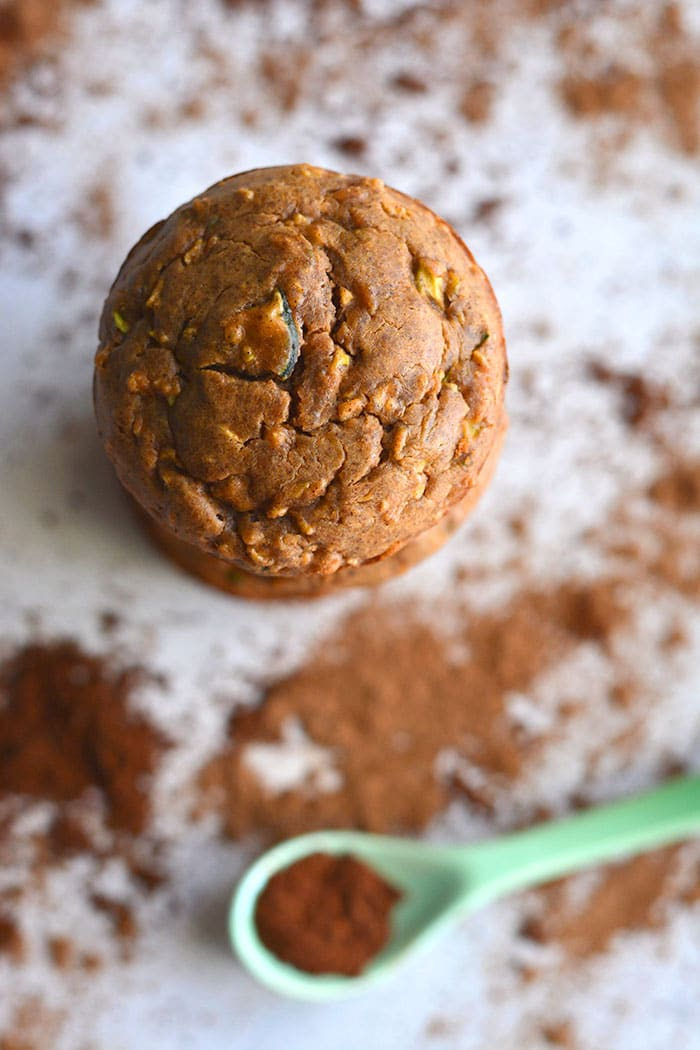 Healthy Zucchini Apple Spice Muffins are a low calorie muffin recipe made flourless with more protein and lower carbs. An easy snack recipe with warm spices! Low Calorie + Paleo + Gluten Free
