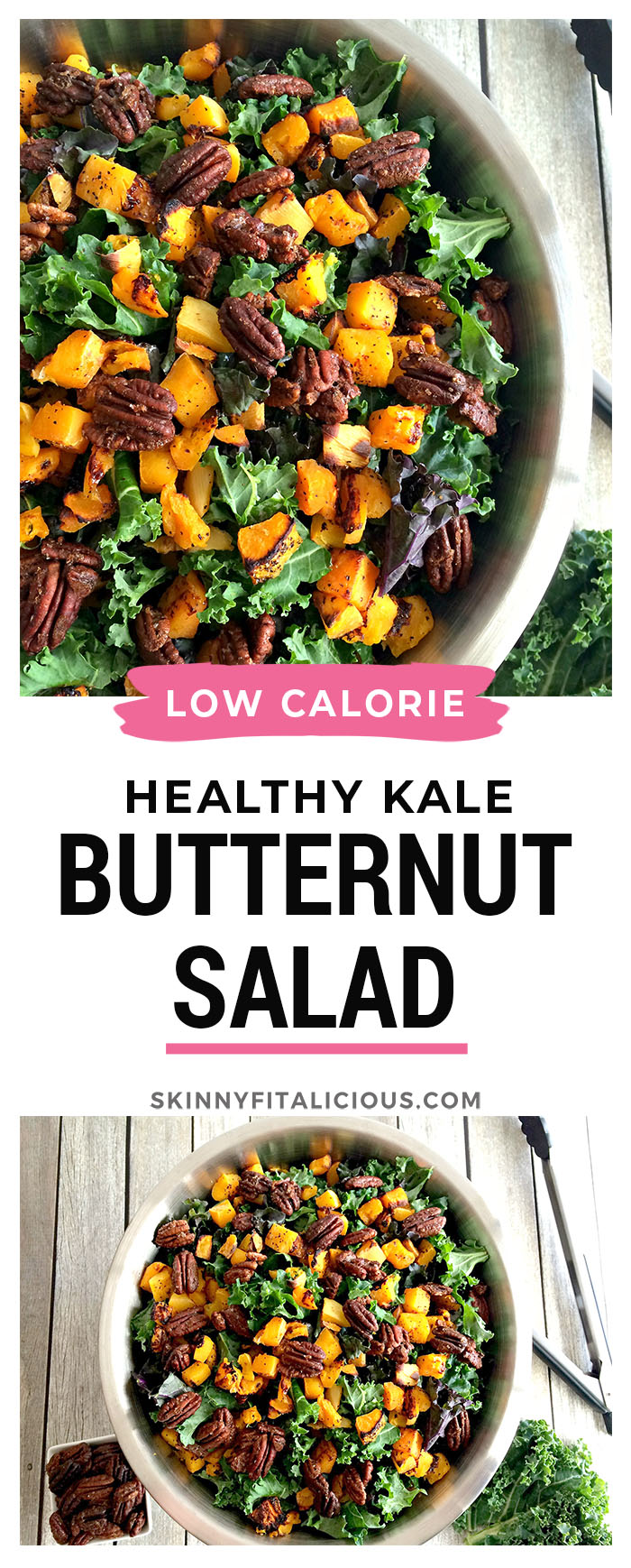 Paleo Kale Butternut Squash Salad with Candied Pecans! Dressed in a horseradish dressing and accessorized with candied pecans this winter salad is sure to warm you up with good health!
