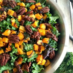Kale Butternut Squash Salad & Candied Pecans {Paleo, GF, Low Cal}