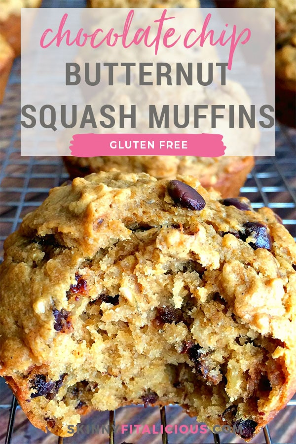 Asimple wholesome chocolate chip muffin turned healthy. These Banana Chocolate Chip Butternut Squash Muffins are made with bananas, squash and whole grain oats. A healthy, gluten free treat everyone loves!