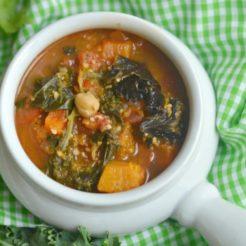 Cashew Kale Veggie Chickpea Soup {GF, Low Cal, Vegan}
