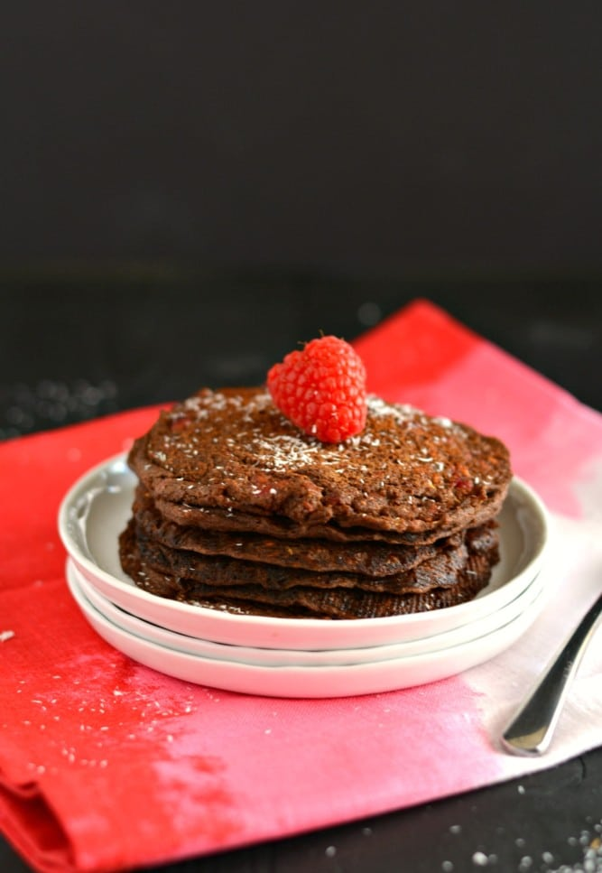 Raspberry Buckwheat Chocoholic Pancakes