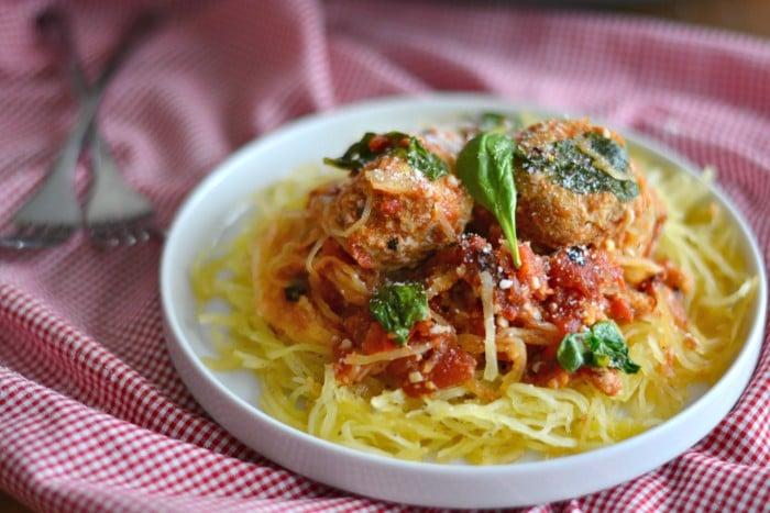 Turkey Veggie Meatball Spaghetti Squash