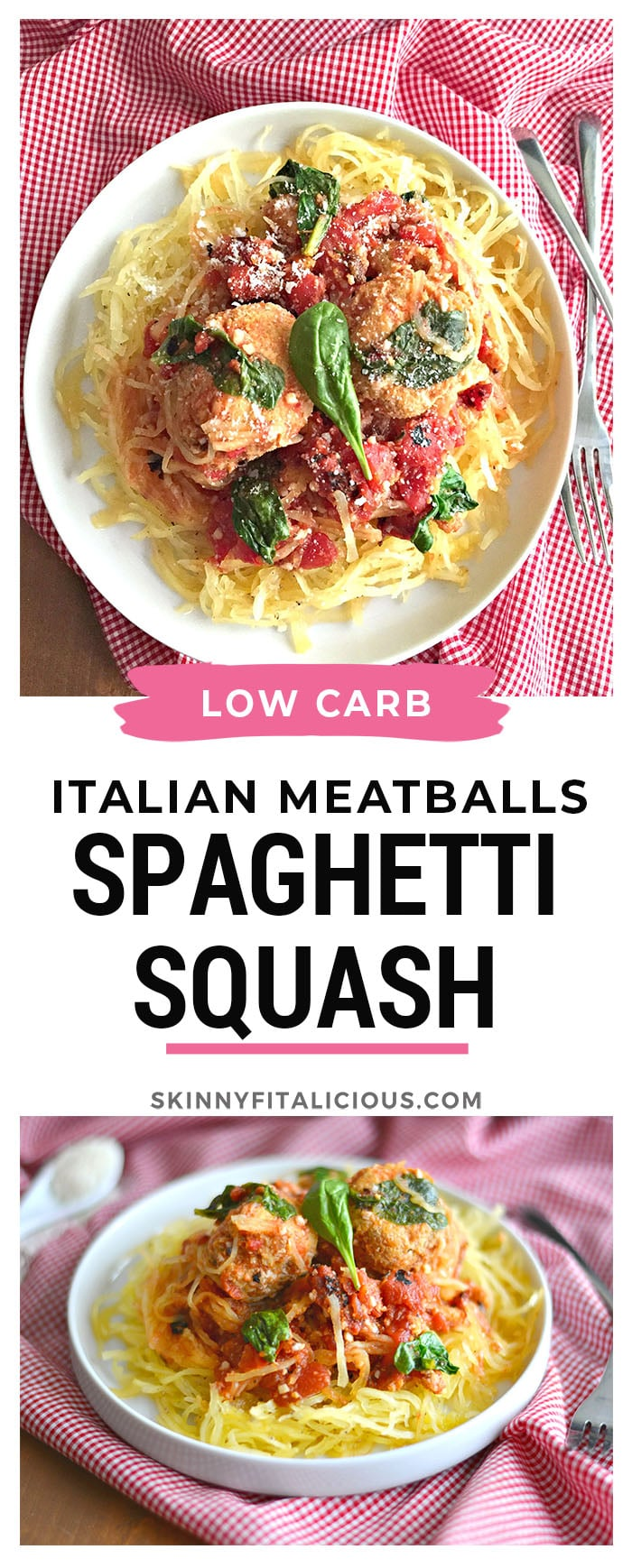 Turkey Veggie Meatballs With Spaghetti Squash packed with carrots, zucchini and onion and paired with spaghetti squash pasta making it paleo and gluten-free. A healthier and lighter alternative to pasta! Paleo + Gluten Free + Low Calorie