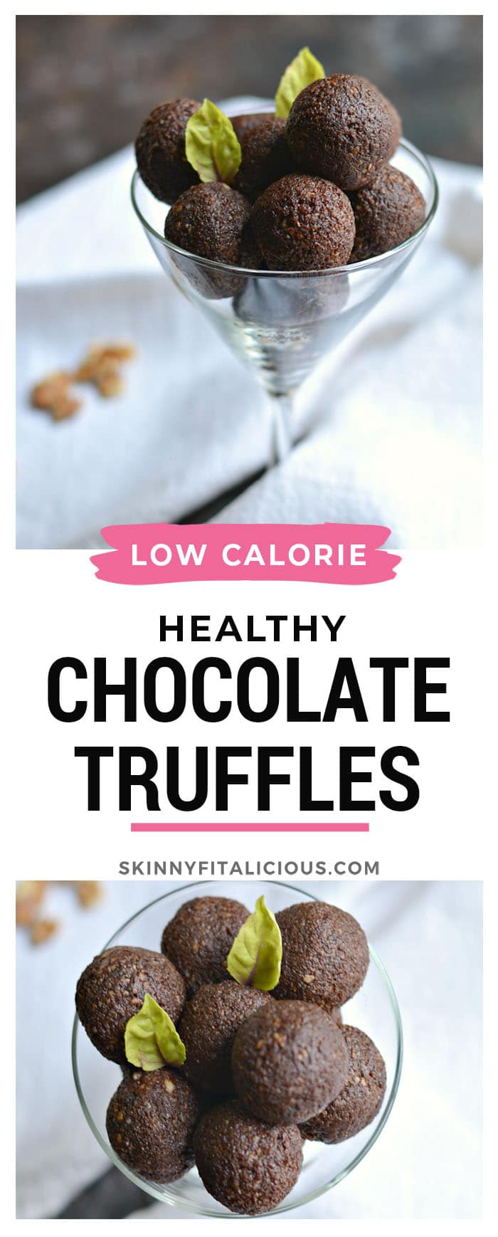 Grain Free Chocolate Walnut Truffles made with almond, walnuts, dates and chocolate these decadent mint no bake snacks melt in your mouth not in your hand!