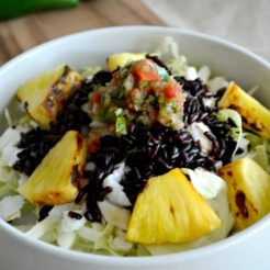 Pineapple Fish Taco Bowl With Black Rice {GF, Low Cal}
