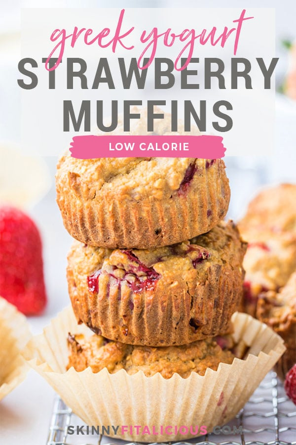 Healthy Strawberry Greek Yogurt Muffins! Bursting with strawberries and creamy greek yogurt, these easy to make muffins make a delicious low calorie breakfast or snack. Quick to make and gluten free too!