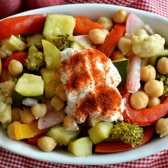 Veggie Crockpot Chickpeas with Paprika Greek Yogurt {GF, Low Cal}