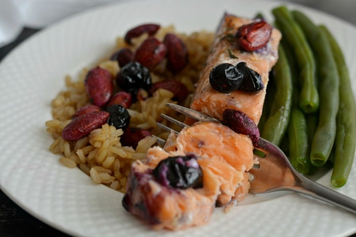 Blueberry Almond Baked Salmon