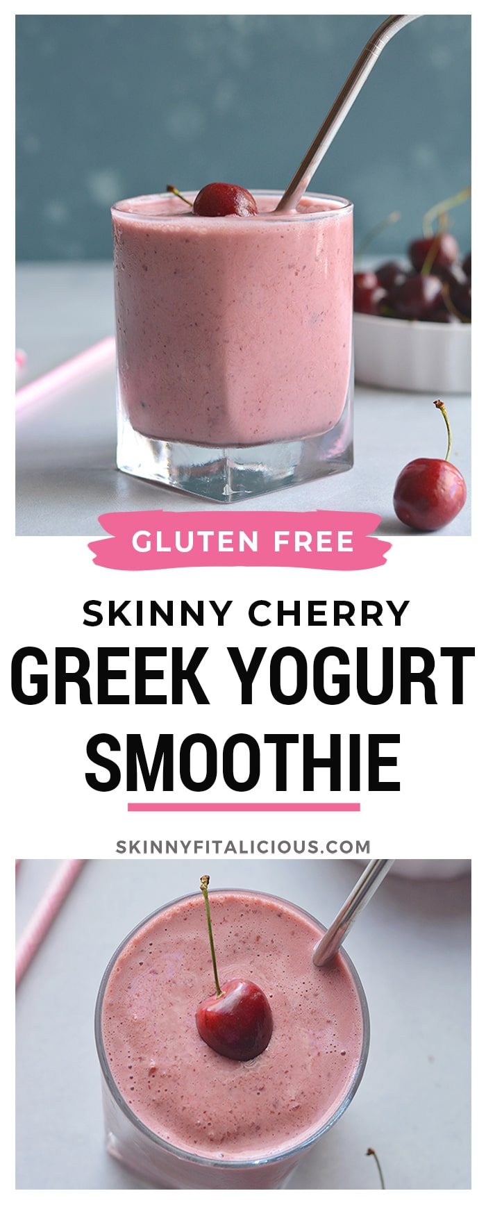 Skinny Greek Yogurt Cherry Smoothie! A thick, creamy, high protein smoothie made with Greek yogurt and sweetened with stevia. This lightened up smoothie is great for breakfast on the go or post workout recovery. Gluten Free + Low Calorie