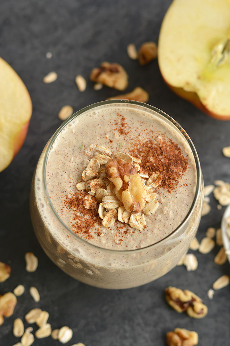 Gluten Free Toasted Walnut Apple Pie Smoothie! A healthy dessert like overnight oatmeal smoothie you can enjoy for breakfast, post workout, or anytime a sweet craving hits! Super creamy, packed with protein and fiber. Gluten free + Low Calorie