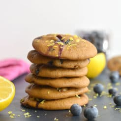 Blueberry Lemon Yogurt Breakfast Cookies! Bursting with blueberries and infused with lemon flavor, these creamy oat cookies make a great breakfast treat or anytime snack. Lower in carbs and only 67 calories each. Gluten Free + Low Calorie