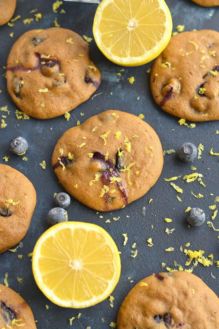 Blueberry LemonYogurt Breakfast Cookies! Bursting with blueberries and infused with lemon flavor, these creamy oat cookies make a great breakfast treat or anytime snack. Lower in carbs and only 67 calories each.Gluten Free + Low Calorie
