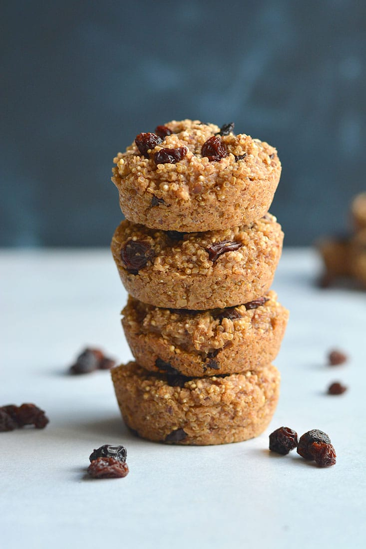 Quinoa Raisin Muffins! Dairy-free with no refined sugar added and only 100 calories. Adelicious low calorie treat, higher in protein. A great lunchbox snack! Gluten Free + Low Calorie