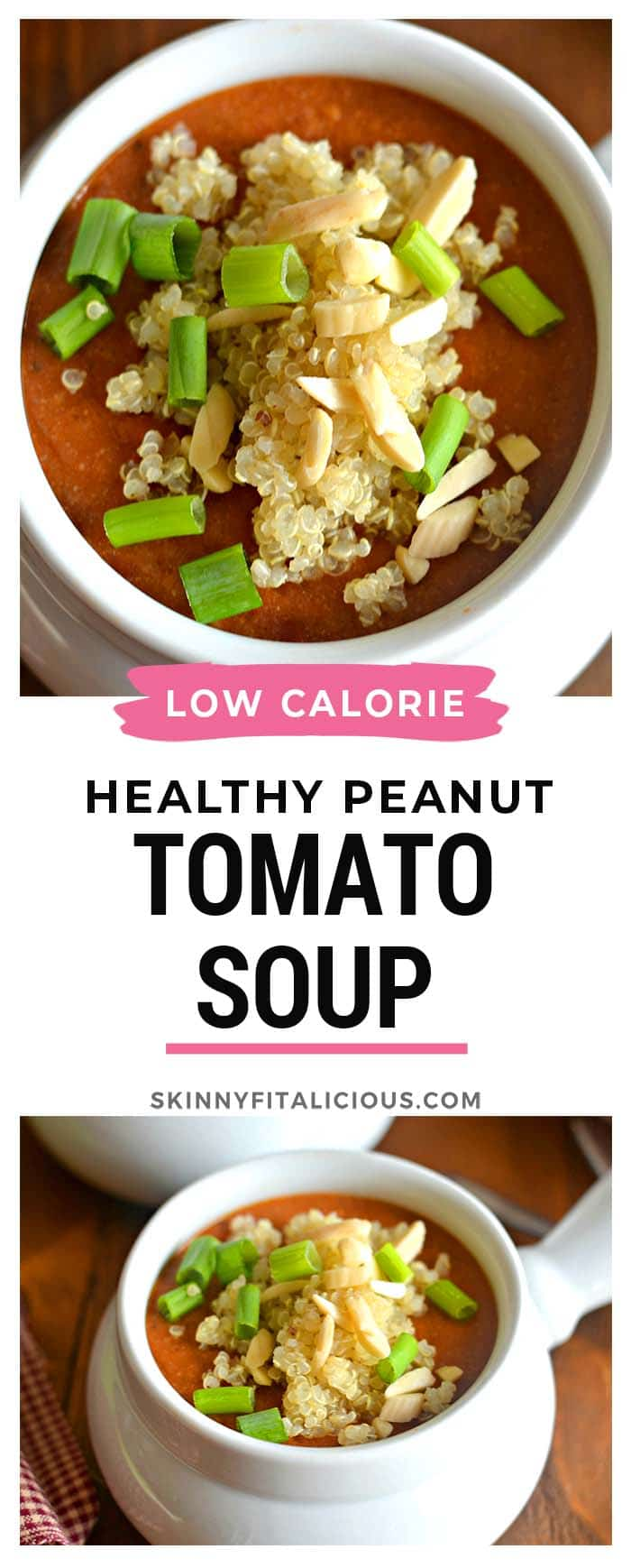 Creamy and comforting, thisvegan Tomato Peanut Butter Quinoa Soup comes together with a simple combination of peanut butter, tomatoes and tomato paste for aneasy weeknight meal. This is not your mama's tomato soup!