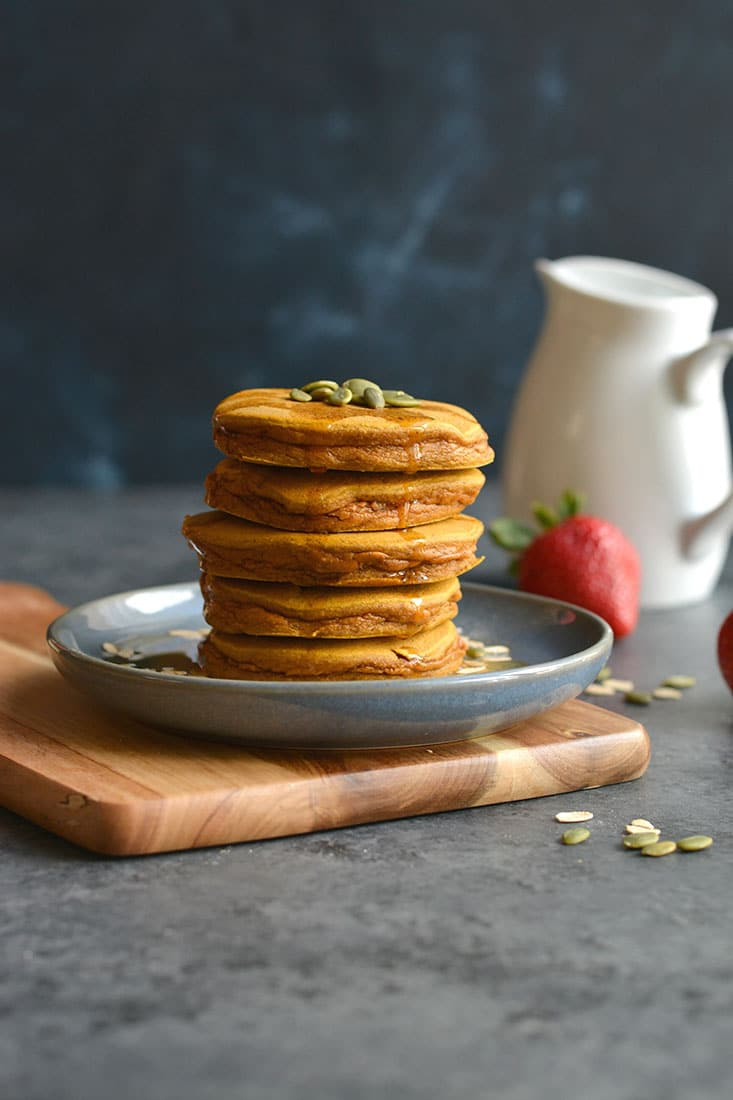 Thick, fluffy whole grain Butternut Squash Maple Oat Pancakes made with simple ingredients. Great for a weekend breakfast or easy fall meal prep.