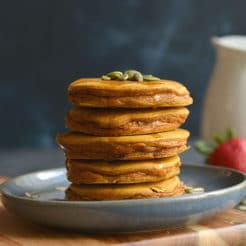 Thick, fluffy butternut squash maple oat pancakes! Gluten free and delicious.
