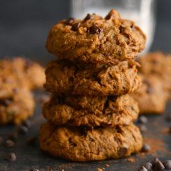 Pumpkin Peanut Butter Chocolate Chip Cookies {GF, Vegan, Low Cal}