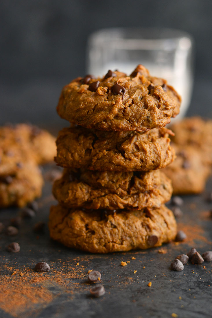 Get your pumpkin & chocolate fix with a creamy, melt-in-your-mouth Pumpkin Peanut Butter Chocolate Chip Cookie. Low Calorie, Paleo, Gluten Free and Vegan!