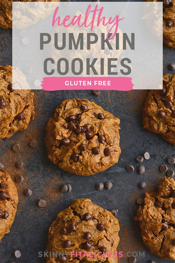 Get your pumpkin and chocolate fix with a creamy, melt-in-your-mouth Healthy Pumpkin Peanut Butter Chocolate Chip Cookies. Low Calorie, Gluten Free and Vegan with a Paleo substitute!