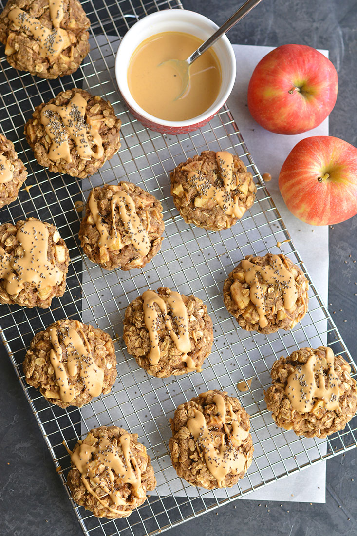 Apple Peanut Butter Cookies made with flax, chia and oats. A low calorie, gluten-free & vegan friendly snack that's easy to make & a nutritious treat! Gluten Free + Vegan + Low Calorie