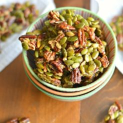 Ginger Spiced Candied Pecans & Pepitas {GF, Low Cal, Paleo}