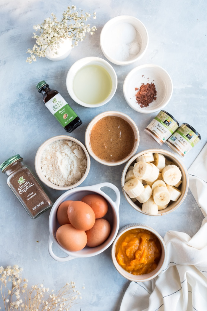 ingredients for coconut flour pancakes on a board