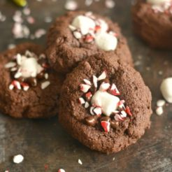 Healthy Peppermint Hot Chocolate Cookies {GF, Low Cal}