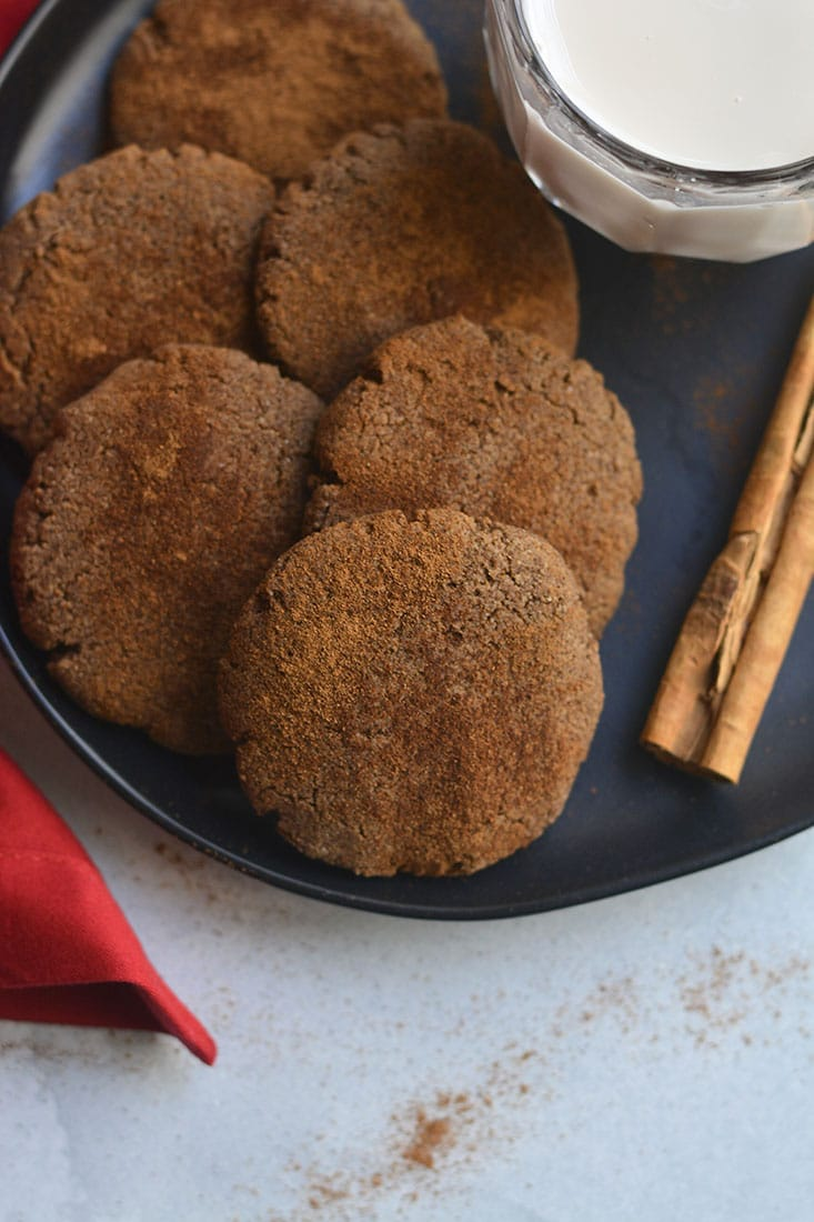 Grain Free Cinnamon Cookies! Laced with cinnamon, cloves and molasses, these chewy and delightful cookies are low in calories, easily customizable and quick to make. An anytime treat you can enjoy guilt free! Paleo + Gluten Free + Low Calorie
