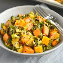 Brussels Sprouts Sweet Potato Salad {GF, Low Cal, Paleo, Vegan}