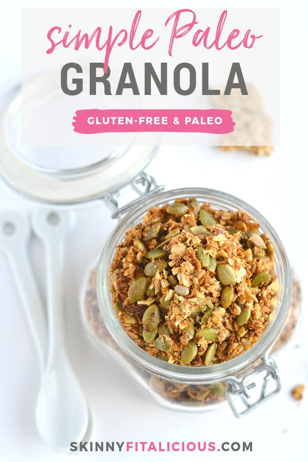 A simple Paleo Granola made of almonds, seeds, shredded coconut and lathered in coconut oil and honey. A nutty and seedy snack that's irresistible and seriously addicting! Gluten Free + Paleo