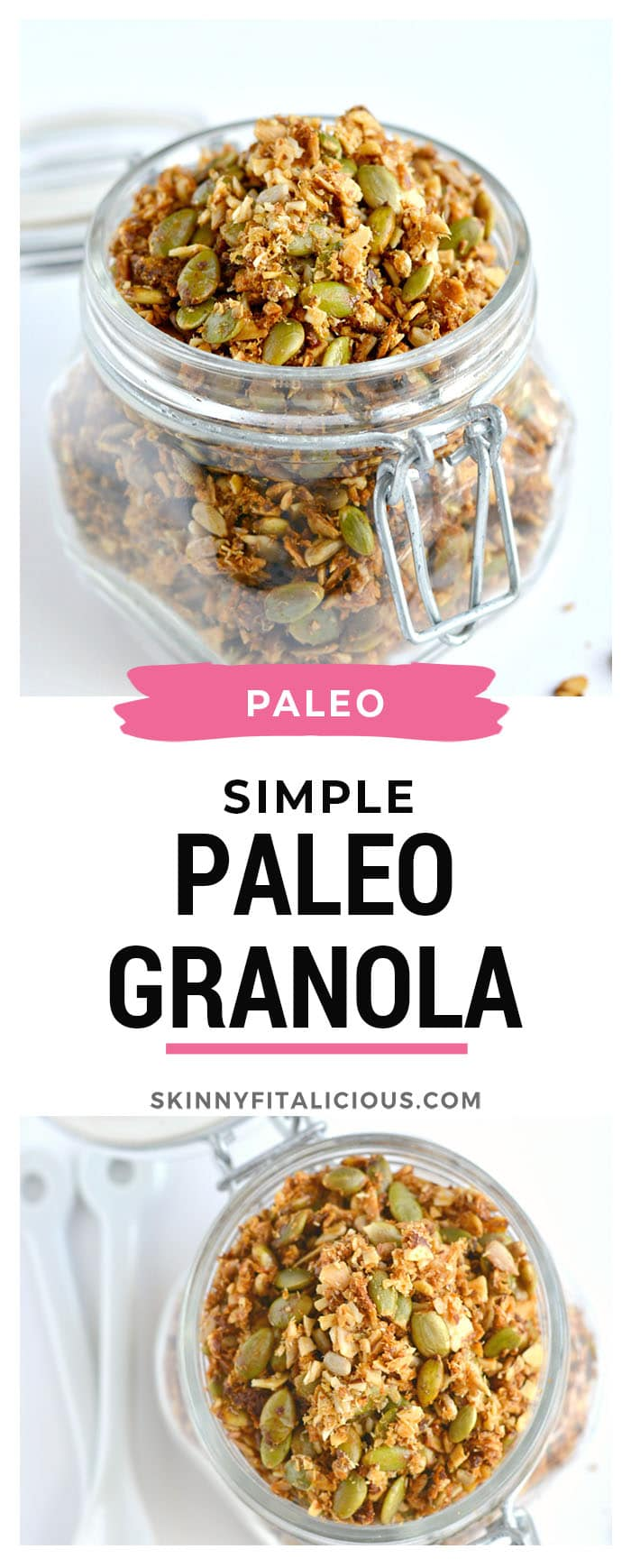 A simple Paleo Granola made of almonds, seeds, shredded coconut and lathered in coconut oil and honey. A nutty and seedy homemade snack that's irresistible and seriously addicting! Gluten Free + Paleo