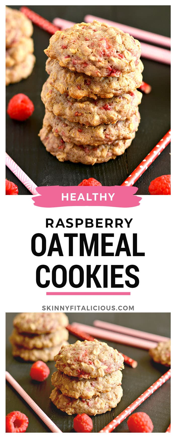 These soft and chewy Healthy Raspberry Oatmeal Cookies are loaded with whole grains and dancing with raspberries. With no refined sugar, these charming goodies make an irresistible treat! Gluten Free + Low Calorie