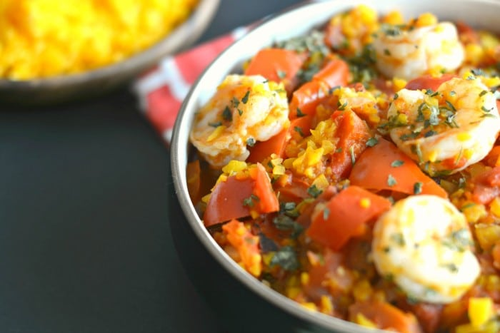 Shrimp & Spicy Red Peppers with Butternut Squash Rice
