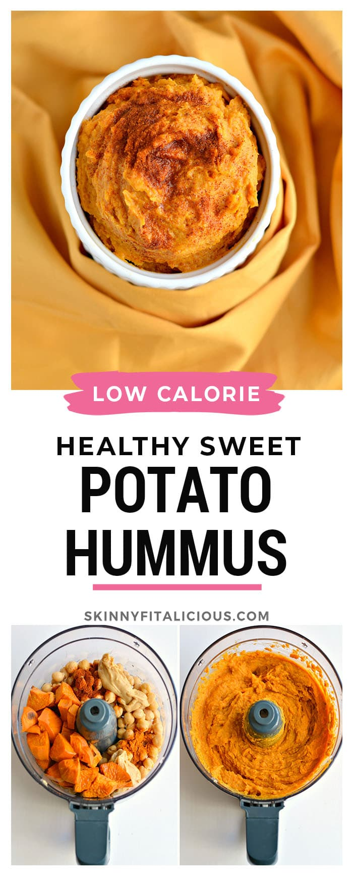 Sweet Potato Hummus made withpeanut butter and chickpeas and sprinkled withpaprika for a smoky flavor. This dip is great for spreading, dipping or to eat out of the jar. A delightful dip that makes health snacking easy!