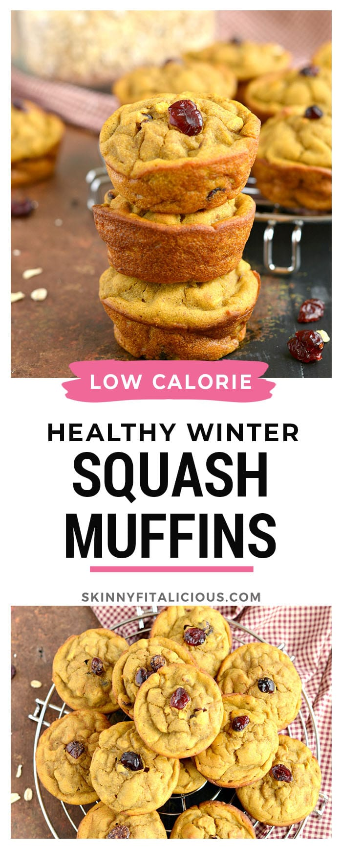 Winter Squash Muffins made low calorie with butternut squash. These gluten and dairy free muffins are a perfect snack on a cold day!