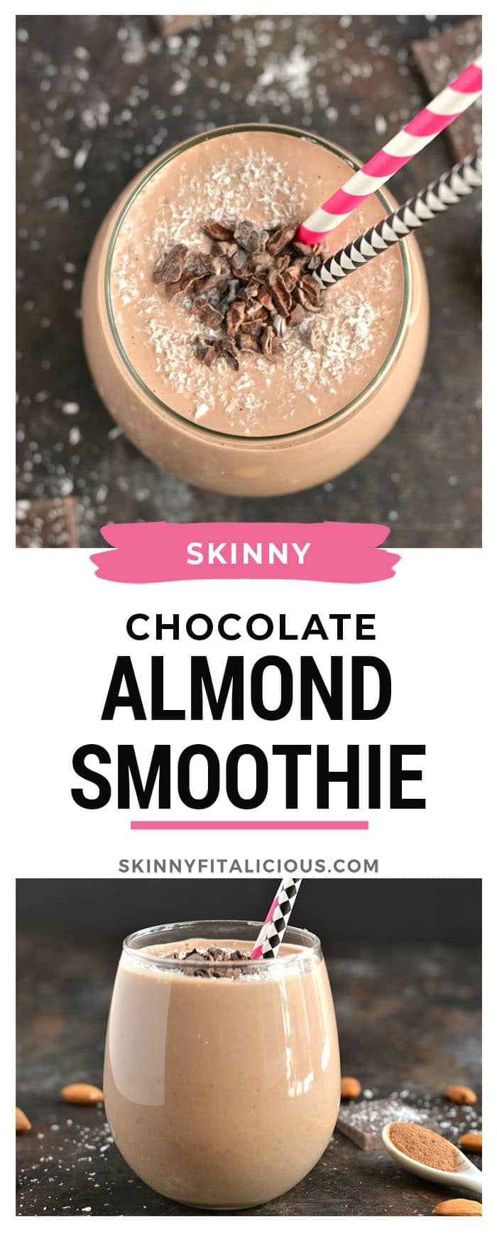 Start your day with a thick and creamy Chocolate Almond Smoothie more like desire than breakfast. This gluten free, low calorie smoothie (with Vegan option) is what dreams are made of!Start your day with a thick and creamy Chocolate Almond Smoothie more like desire than breakfast. This gluten free, low calorie smoothie (with Vegan option) is what dreams are made of!