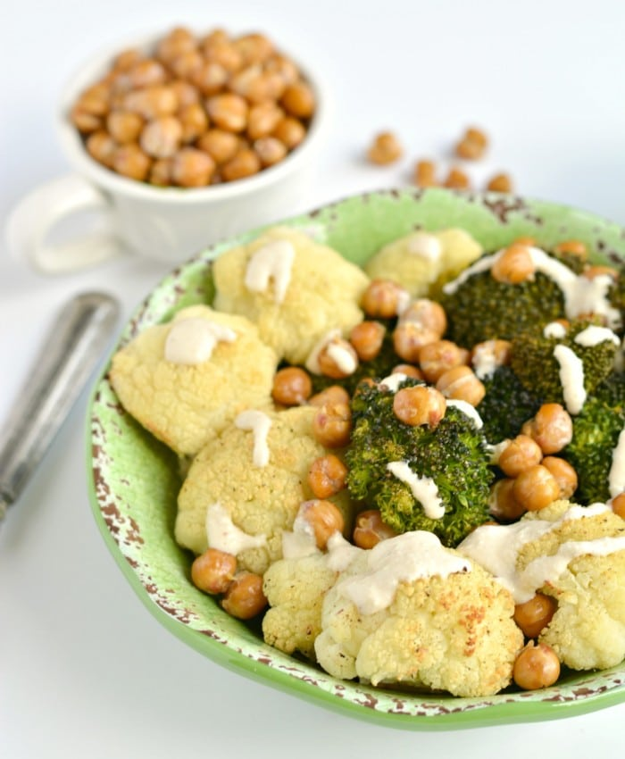 Broccoli Cauliflower Chickpea Bowl - Skinny Fitalicious