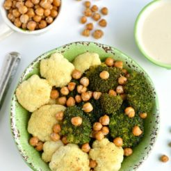 Broccoli Cauliflower Chickpea Bowl With Tahini Lemon Sauce {GF, Low Cal, Vegan}