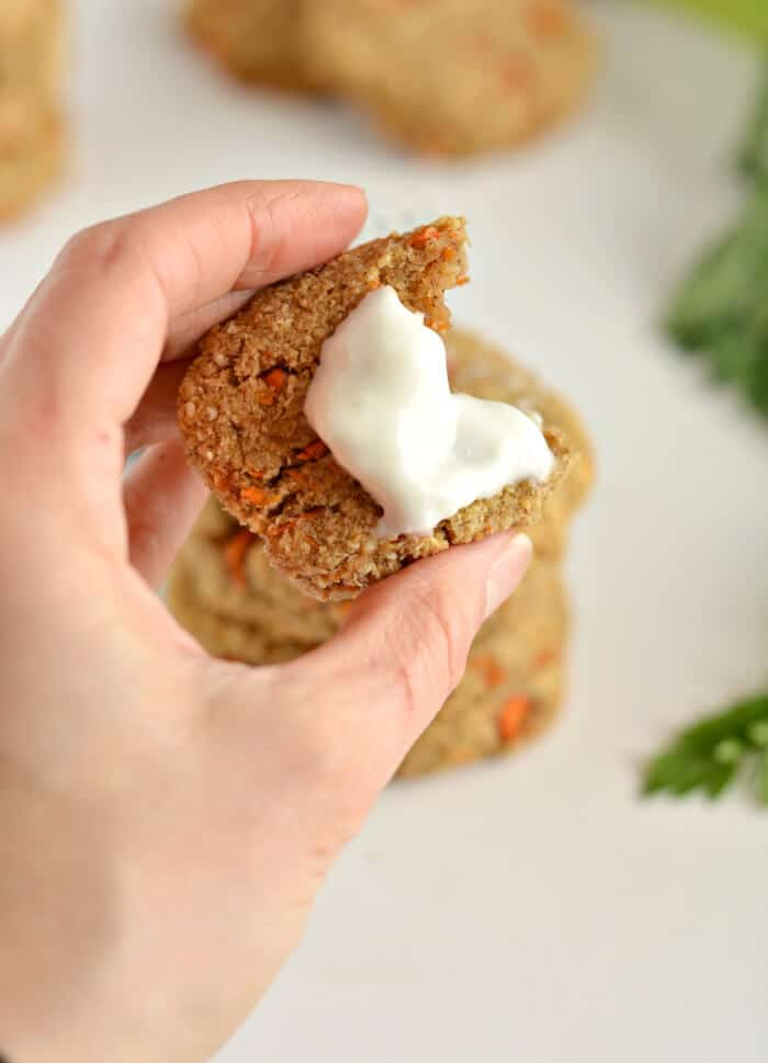 These decadent Paleo Carrot Cake Cookies taste like carrot cake and take just 15 minutes to make! Made with almond flour, carrots, coconut and cinnamon and no no refined oil or sugar these cookies are grain free, gluten free, Paleo and Vegan with a low calorie option too.