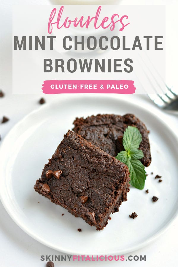 Flourless Mint Chocolate Chip Brownies made with no refined sugar or oil. A super simple mint-y fresh dessert treat made healthy with nut butter and double chocolate that no one can resist! Gluten Free + Paleo + Low Calorie Recipe