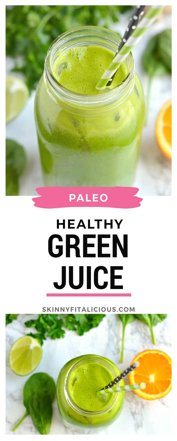 Jumpstart spring by spring cleaning your diet with a classic Green Juice. Made with spinach, parsley, ginger, apple, oranges and lime, this addicting Green Juice is loaded with nutrients and layered with flavors of citrus and spice with an ounce of tang! Gluten Free + Paleo + Vegan + Low Calorie