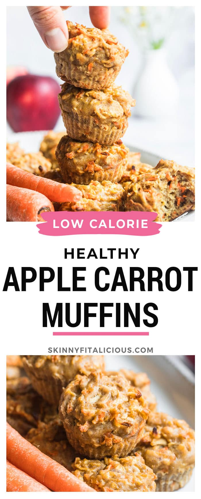 Healthy Carrot Apple Flax Muffins are made low calorie, gluten free and dairy free with nutrient dense ingredients.